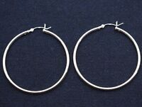 "2mm X 45mm 1.75"" Plain Polished Round Hoop Earrings Real 925 Sterling Silver"