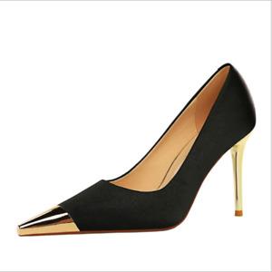 Women Metal Pointed Toe Fashion Sexy Stilettos Heels Nightclub Shining New Shoes