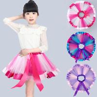 Baby Kids Girls Petticoat Rainbow Pettiskirt Bowknot Skirt Tutu Skirts Dancewear