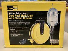 50 Foot Retractable Cord Reel Work Light With Circuit Breaker
