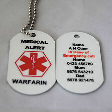 Personalised Medical Alert Necklace for Warfarin