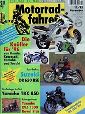 Motard 11/95 1995 MZ YAMAHA trx850 XVZ 1300 ROYAL STAR SUZUKI DR 650 RSE