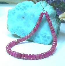 NATURAL UNTREATED FACETED RASPBERRY PINK RUBY RUBIES BEADS STRAND 4-5mm 6.25""