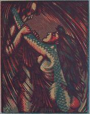 CHAPRONT HENRY (1876-1965 ) : L'Ondine. Camaïeu de quatre couleurs. Byblis, 1923