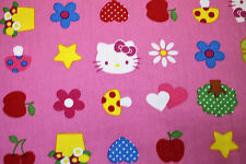 Fabric Hello Kitty Pink heart Fat Quarter Drill Cotton Quilting kids material