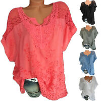 Womens Summer V Neck Short Sleeve T Shirt Casual Lace Blouse Loose Solid Top Tee