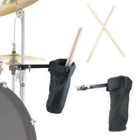 Nylon Drum Stick Holder Case Clamp Bag on Stand Black with 1 Pair 5A Drumstick