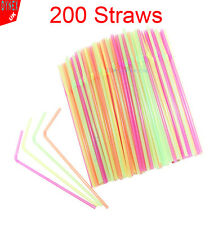 200 x Neon Flexible Bendy Birthday Party Drinking Straws Assorted Coloured