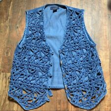 Vintage Jean Vest Small Oversized Toggle Button