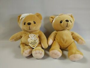 (2) Cherished Teddies With Heart of Gold Bean Bag Plush 7'' Enesco 1998