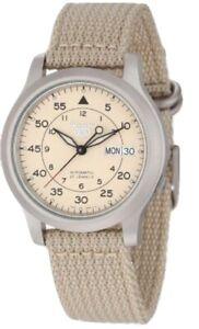 Seiko  SNK803 Seiko 5 Automatic Watch with Beige Canvas Strap
