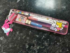 Vintage 1980s Collectible Kathie and Johnnie Flomo Pencil Case & crayons