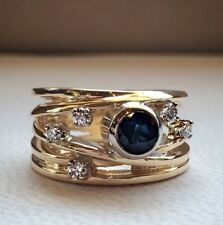 1Ct Round Cut Synt. Blue Sapphire Diamond Deco Wide Ring Yellow Gold Fnsh Silver