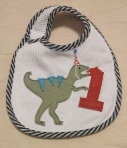 Mud Pie Dino First Birthday Bib One Size Dinosaur T Rex 1 - NEW without tag