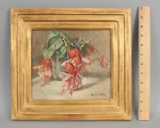 Original WILLIAM HUBACEK American Floral Still Life Oil Painting Fuchsia Flowers