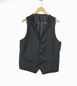 Alfani for Macys' NWT Size US 44L Slim Fit Black Pinstripe Button Wool Suit Vest
