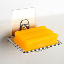 Kitchen Bathroom Self-adhesive Soap Dish Holder Wall Mounted Stainless Steel x1