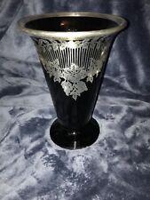 Retro Art-Deco Silver Overlay Black Art Glass Vase Foliage Scrolls Swags