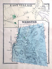 MAP 1870 WEBSTER EAST VILLAGE MASSACHUSETTS ORIGINAL 1870 ANTIQUE COLOR BEERS