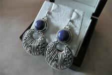 LARGE ETHNIC LAPIS LAZULI 925 STERLING SILVER LONG DROP DANGLE HOOK EARRINGS