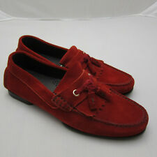 J-3836162 New Tom Ford Red Loafer Moccasin Suede Driver Size US 8
