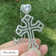 925 Solid Sterling Silver Large Cross Heart Cubic Zirconia Necklace Jewellery