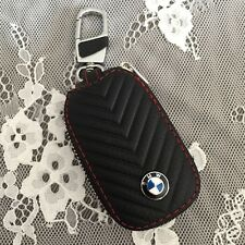 High grade leather Car Remote Key Chain Holder Case Bag Fit For BMW Auto black