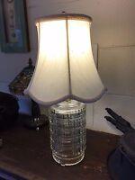 "Mid Century Idealite Glass Lamp USA w/ White Silk-O-Lite Shade 19"" Total Height"