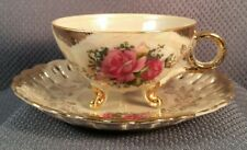 VINTAGE PORCELAIN TEA CUP SAUCER SET CABBAGE ROSE UNSIGNED JAPAN TRI FOOTED
