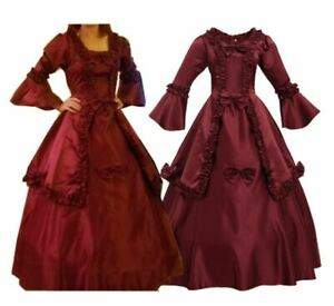 Victorian Bowknot Dress Vintage Dress Ball Gown Flare Sleeves Dress With Bustle