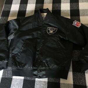 Vintage 80s Satin Starter Oakland Raiders Button Up Jacket NFL Mens Size Medium