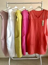 LAGENLOOK NEW LINEN & COTTON JERSEY SUMMER DRESS ONE SIZE FITS UP TO UK 14 / 16