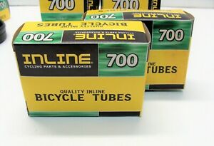 "~ 2 New Inline 700 x 23-25c (27"" x 1"") Bicycle Inner Tubes 35mm Presta Valve ~"