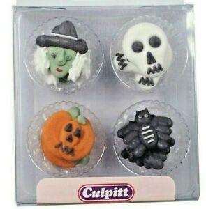Halloween Cupcake Decorations Pumpkin Witch Skull Bat Sugar Pipings  12 Pc's