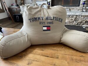 Tommy Hilfiger Khaki Tan Preppy Back Rest Pillow Navy Red & White Flag Patch