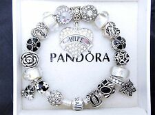 Authentic Pandora Sterling Silver Charm Bracelet With Wife Love European Charms