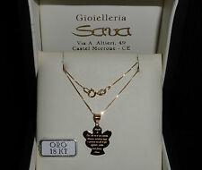 Collana e medaglia angelo con preghiera 1.5 cm x 2.2 cm in oro giallo 750 18 kt