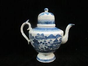 Antique Chinese Cobalt CANTON BLUE Porcelain Teapot