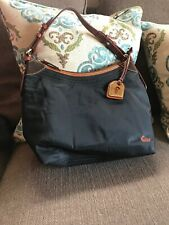 Dooney And Bourke Nylon Black Brown Leather Hobo Purse Handbag 1975 EUC