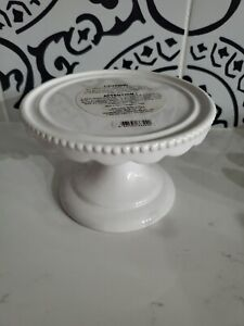 Bath & Body Works WHITE CERAMIC PEDESTAL 3 Wick Candle Holder  NEW