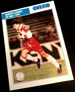 FOOTBALL CARD FICHE ZINEDINE ZIDANE ROOKIE CANNES FRENCH LIGUE 1 1989 1st MATCH