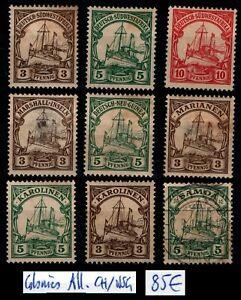 ALLEMAGNE : 9 Timbres d'ex Colonies, Neufs * = Cote 85 € / Lot ETRANGER