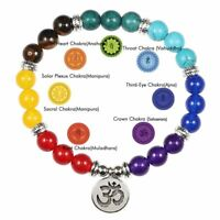 7 Chakra Natural Stone Beads Yoga Pendant Bracelet Healing Bangle Women Men Gift