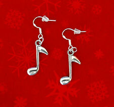 BUY 3 GET 1 FREE~SILVER CHRISTMAS MUSIC NOTE CHARM DANGLE EARRINGS~TEACHER GIFT