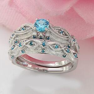 Sterling Silver Topaz Wedding Ring Set November  Birthstone Topaz Engagement Ring Rustic Wedding Ring Set Sterling Silver Topaz Ring