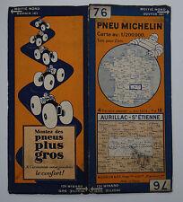 Carte MICHELIN old map FRANCE AURILLAC SAINT ETIENNE 1930 Bibendum pneu tyre