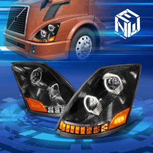 For 04-18 Volvo VN VNL Dual LED Halo Sequentail Signal Projector Headlight Lamps