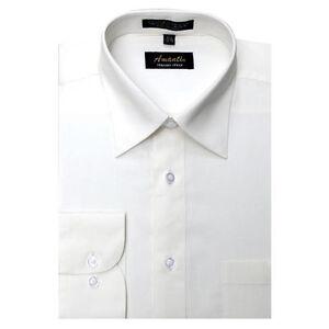 Mens Dress Shirt Ivory Off White Modern Fit Wrinkle-Free Cotton Blend Amanti