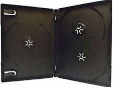 100 New Premium Black Triple Multi hold 3 Discs CD DVD Cases, Standard 14mm, TP
