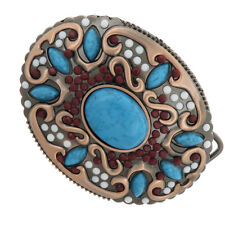 Belt Buckle for Women Girls Classic Bohemian Colorful Beads &Turquoise Decor